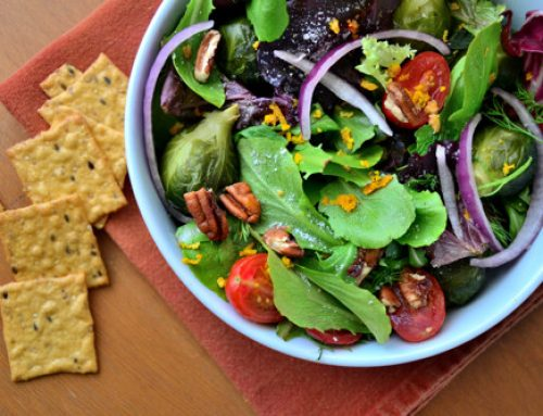Toasted Walnut & Brussels Sprouts Salad with Orange Poppy Seed Dressing
